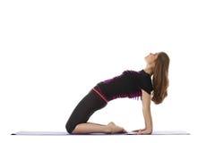 Studio shot of charming woman doing yoga Stock Photos