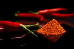 Studio shot chilli pepper, cayenne pepper isolated on black Stock Images