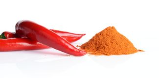 Studio shot chilli pepper, cayenne pepper  on white Stock Images