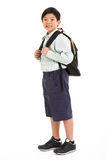 Studio Shot Of Chinese Boy In School Uniform Stock Photos