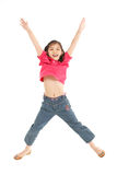 Studio Shot Of Chinese Girl Jumping In Air Royalty Free Stock Photo