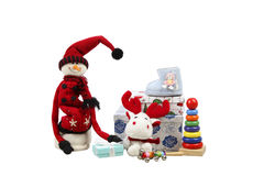Studio shot of Christmas gifts and toys for kids isolated over white background Royalty Free Stock Image