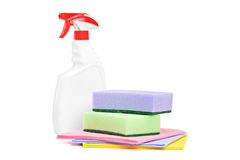 Studio shot of a cleaning spray and sponges Royalty Free Stock Image
