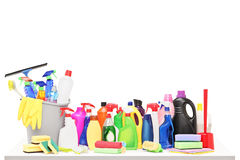 Studio shot of a cleaning supplies on a table Stock Image