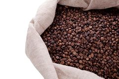 Studio Shot of Coffee Beans in a Bag. Isolated on white Stock Photos