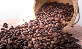 Studio Shot of Coffee Beans in a wooden bucket Stock Images