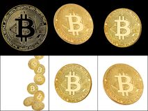 Studio shot of a collection of bitcoin. Studio shot of a collection of bitcoin physical golden coin isolated over a white background. Bitcoin is a blockchain stock photo