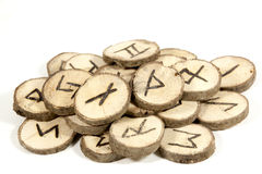 Studio Shot Collection of old Wooden Runes stock images