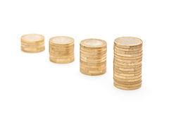 Studio shot of columns of coins Royalty Free Stock Photography