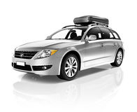 Studio Shot Of 3D Metalic Sedan Family Car Stock Photos