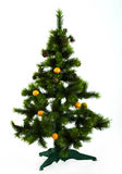 Studio Shot Of Decorated Christmas Tree. Christmas tree decorated with mandarins isolated over white Stock Images