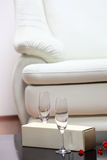 Studio shot of a detail of white leather sofa Royalty Free Stock Photos