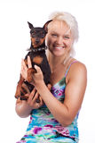 Studio shot of dog and owner Royalty Free Stock Images