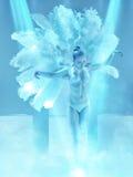 The studio shot of female modern dancer on blue background. The studio shot of female modern dancer in the role of a white swan on blue background stock photo
