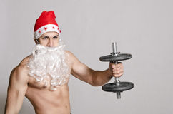 Studio shot of fitness santa Royalty Free Stock Photo