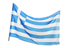 A studio shot of a flag of Greece waving Royalty Free Stock Photography