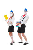 Studio shot of funny actors with books Royalty Free Stock Images