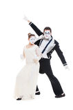 Studio shot of funny dancing mimes Stock Images