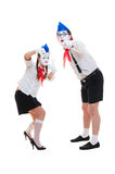 Studio shot of funny mimes Royalty Free Stock Images