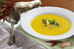 Ginger and carrot soup. Studio shot of ginger and carrot soup Royalty Free Stock Photos