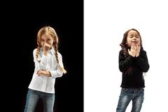 The studio shot of girl is blowing her nose stock photo