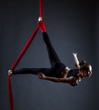 Studio shot of graceful female acrobat posing. At camera stock photography