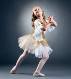Studio shot of graceful little ballet dancer. Posing on gray background Stock Photo