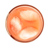 Studio shot grapefruit juice, ice cubes isolated white Stock Photo