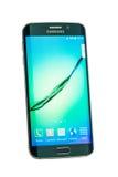 Studio shot of a green Samsung Galaxy S6 Edge smartphone. Varna, Bulgaria - May, 26, 2015: Studio shot of a green Samsung Galaxy S6 Edge smartphone, with 16 mP Stock Image