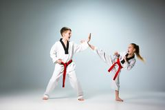 The studio shot of group of kids training karate martial arts. On gray backlground royalty free stock photo