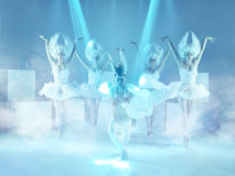 The studio shot of group of modern dancers on blue background stock photo