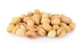Studio shot of group of pistachios isolated on white background Stock Photo