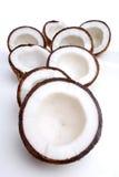 Studio shot of halved coconuts Royalty Free Stock Photo
