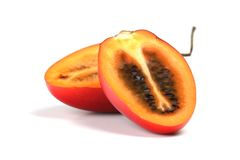 Studio shot of halved tamarillo Royalty Free Stock Images