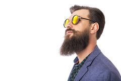 Studio shot of a handsome stylish man with beard stock images