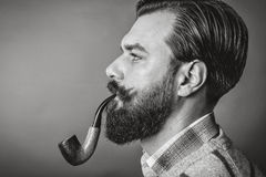 Studio shot of a handsome young man with retro look smoking pipe Stock Photography