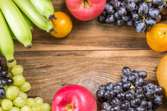 Studio Shot of Healthy eating ,different fruits on old wooden ta Stock Image