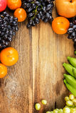 Studio Shot of Healthy eating ,different fruits on old wooden ta Stock Photography