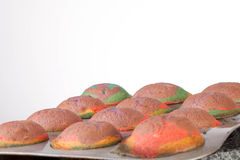 Studio shot of home made rainbow cupcakes in the t Stock Photography