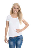Studio shot of isolated happy pretty young woman in casual cloth Royalty Free Stock Images