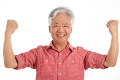 Studio Shot Of Jubilant Chinese Senior Man Stock Image