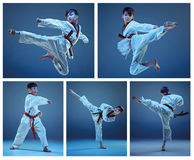 The studio shot of kids training karate martial arts. On blue backlground. Collage stock images