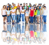 Studio Shot of Large Group of Young Adults stock images