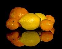 Studio shot with lemons and oranges Royalty Free Stock Image