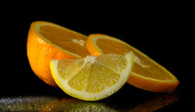 Studio shot with lemons and oranges Royalty Free Stock Photos