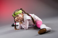 Little Fitness Girl Stock Photo