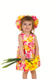 Studio shot little girl with flowers Royalty Free Stock Photo