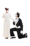 Studio shot of mimes lovers Royalty Free Stock Image
