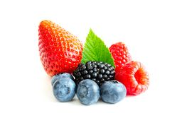 Studio shot mixed berries isolated on white Royalty Free Stock Photo