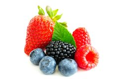 Studio shot mixed berries isolated on white Stock Photography
